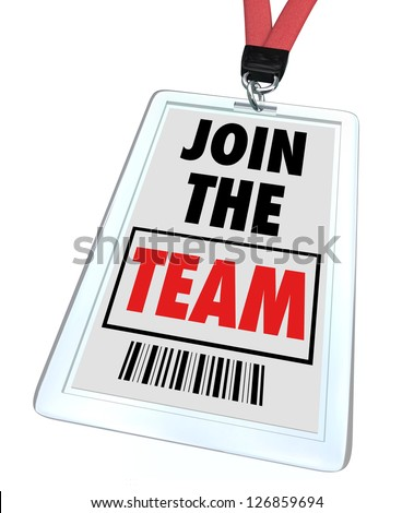 A badge and lanyard with printed pass reading Join the Team, symbolizing getting hired at a job and working toward teamwork - stock photo