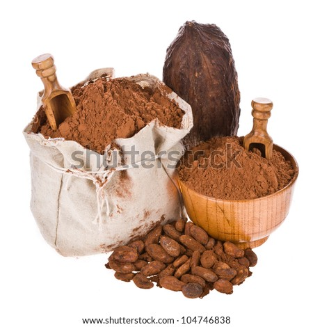 a bag of freshly ground cocoa, wooden spoon and bowl, cocoa beans isolated on white background - stock photo