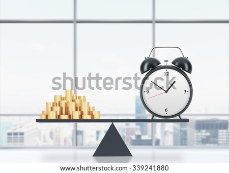 A balance between time and money. On the one side is money, on the other one is an alarm clock. The concept of time is money. An office with New York panoramic view. 3D rendering. - stock photo