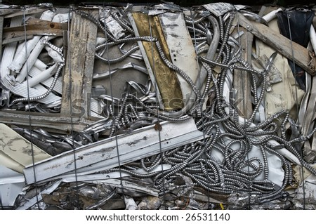 A bale of construction material for recycling - stock photo