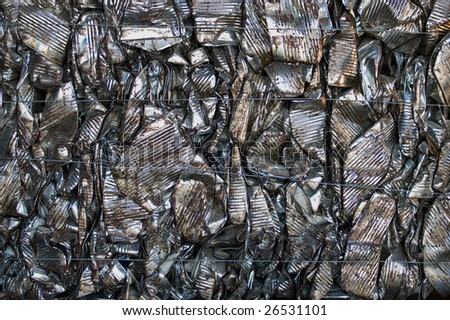 A bale of recycling tin cans - stock photo