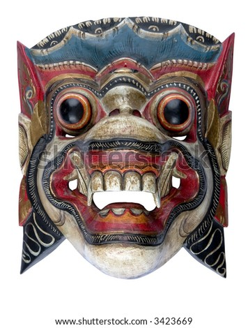 A Balinese Barong mask isolated on white - stock photo