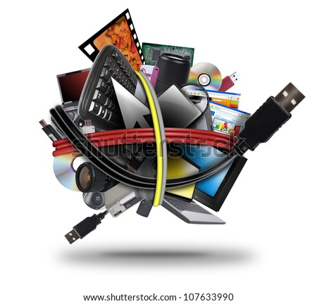 A ball of different electronic media devices ranging from a laptop to  a television. A usb cord wire is wrapped around the gadgets on a white background. - stock photo