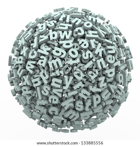 A ball of letters in a 3d render symbolizing writing, reading, learning, education and dealing with issues such as dyslexia