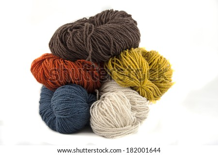 A ball of the pure, organic, turquoise color wool ball with the bamboo spokes, illustration for knitting  - stock photo