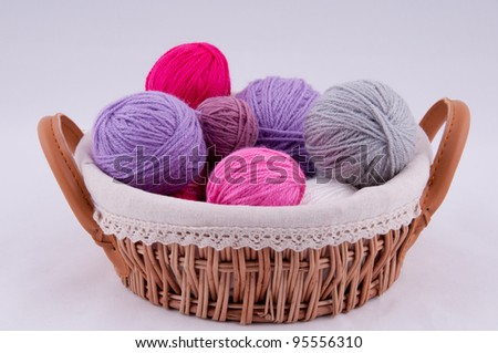 A ball of yarn for knitting in the basket on a grey background