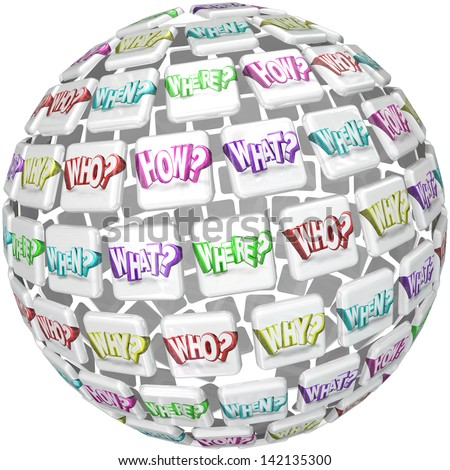 A ball or sphere with tiles containing the questions Who What Where When Why and How to illustrate a search for answers or doing research for a study or survey