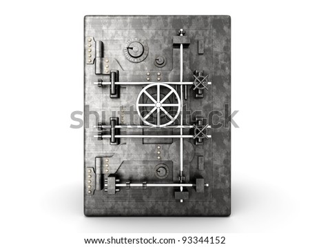 A bank safe. 3D rendered Illustration. Isolated on white. - stock photo