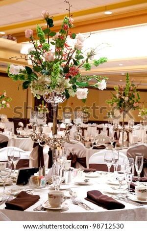 A banquet hall or other function facility set for fine dining