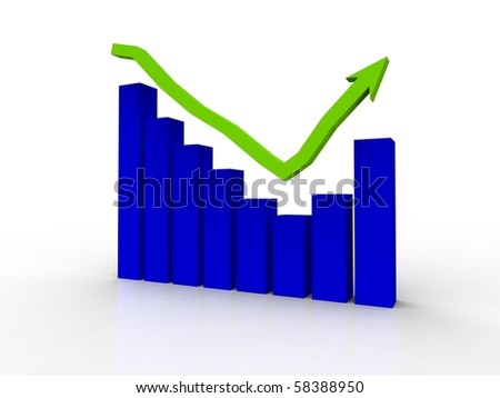 A bar graph showing recovery with an arrow rendered in 3d on a white background