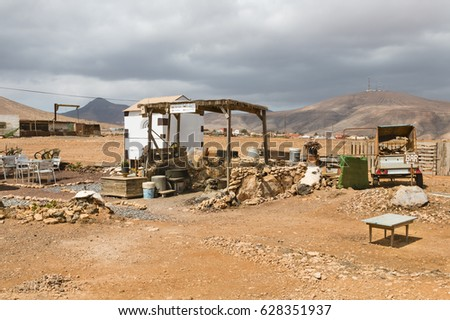 A bar in the middle of nowhere in the desert landscape of Fuerteventura, Spain.
