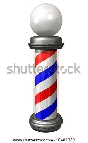 A Barber Pole on white - stock photo