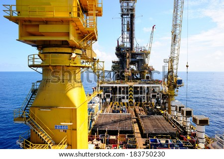A barge platform in the Gulf of Thailand - stock photo