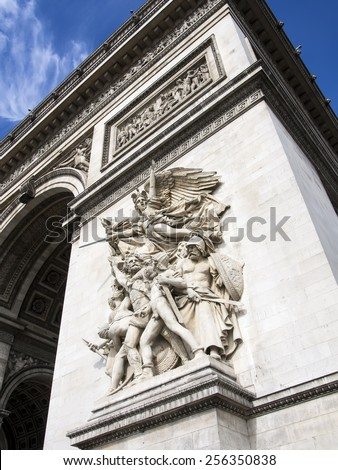 A bas relief on the Arc de Triomphe 'La Marseillaise' by Francois Rude. It depicts the French people rallied by the Roman goddess of war, Bellona against its enemies abroad - stock photo