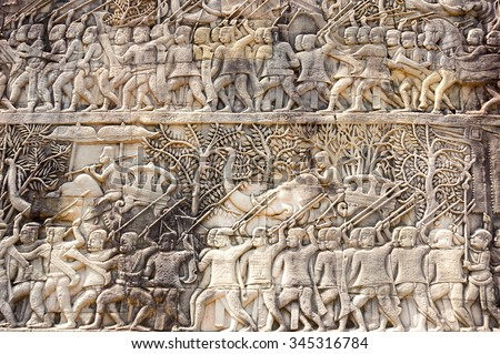 A Bas-Relief Statue of Khmer Culture in Angkor Wat, Cambodia - stock photo