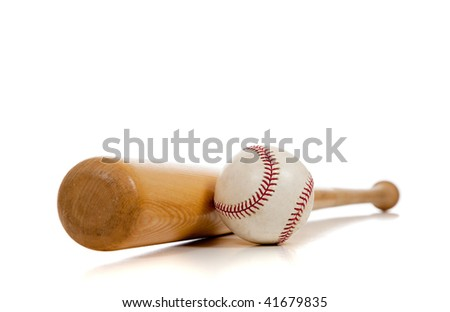 A baseball and wooden bat on a white background with copy space