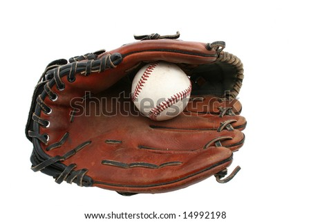 a baseball glove with ball isolated on white