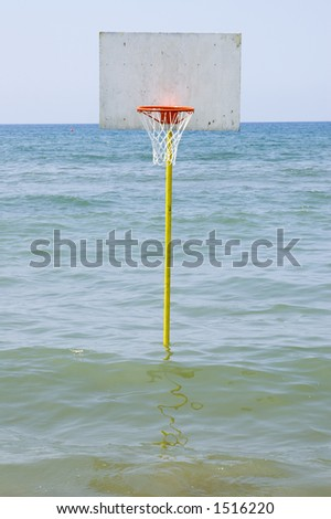 A basket ball in the sea in italy