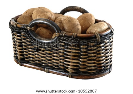 A basket full of fresh potatoes isolated on white