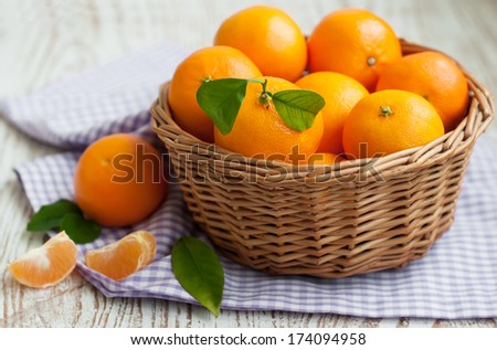 A basket of fresh tangerines on a wooden background