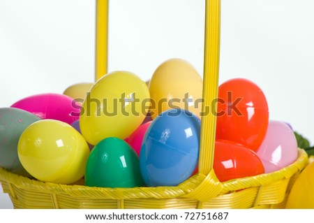 A Basket Of Plastic Easter Eggs