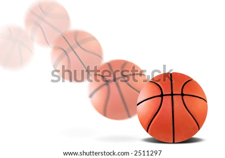 A basketball bouncing with a motion blur - stock photo