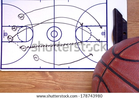 A basketball fast break diagram and a ball. - stock photo