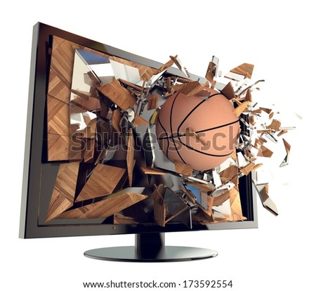 A Basketball on TV. Abstract 3d Broken glass of a television with Basketball. Live Basketball game broadcasting concept. Fun and exciting. - stock photo