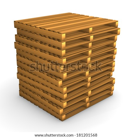 A batch of pallets on the white background.