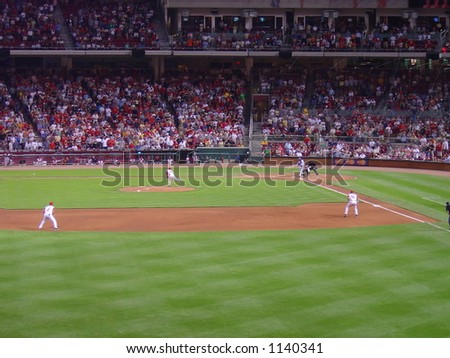 A batter strikes out at a Cincinnati Reds game