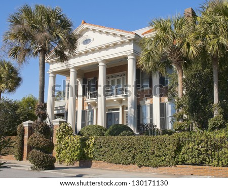 A Battery Romanesque - Victorian House style of architecture built in the eighteenth century in Charleston, South Carolina. - stock photo