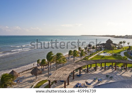 A beach at a tropical beach resort