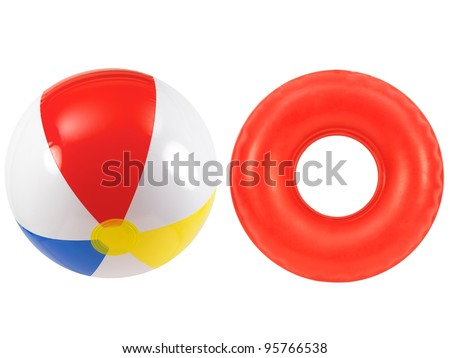 A beach ball and rubber tube together - stock photo