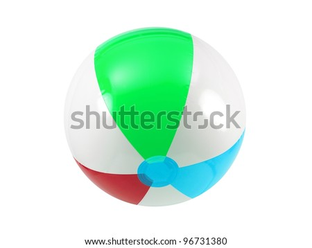 A beach ball isolated against a white background - stock photo