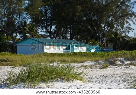 A Beach Cottage in a grove of trees facing the ocean - stock photo