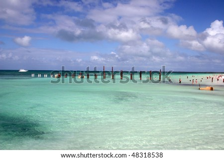 A beach view in Cuba. - stock photo