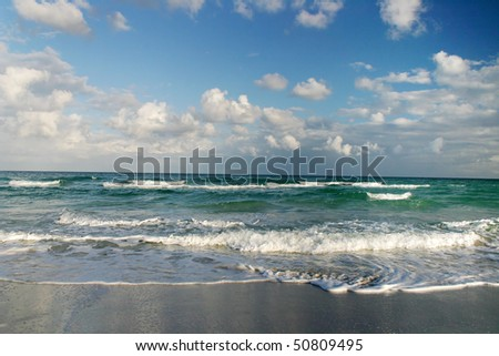 A beach view with sea wave in Hawaii. - stock photo