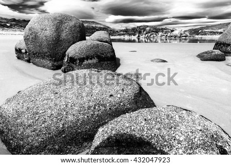A beach with giant boulders, Whisky Bay, Australia, Black and White