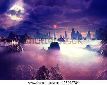 A beacon for inter-dimensional travellers the light from the watchtower warns of rocks below the mist. - stock photo