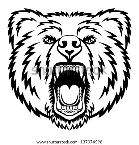 A Bear head logo. This is illustration ideal for a mascot and tattoo or T-shirt graphic. Raster version, vector file also included in the portfolio. - stock photo