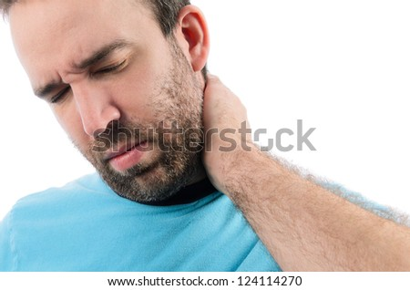 A bearded man holding his injured neck, isolated on a white background.