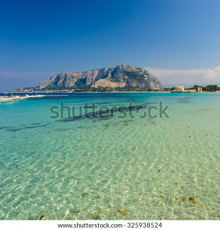 A beautifil view of Palermo from Mondello beach, Sicily, Italy. - stock photo