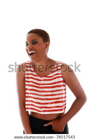 A beautiful African American woman smiles and laughs. isolated on white with room for your text - stock photo