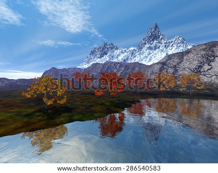 A beautiful alpine landscape, with trees on the edge of the lake, next to the rocks,  because the snowy mountain in the background is fantastic.