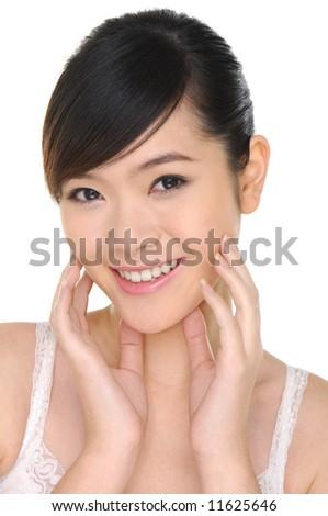 A beautiful asian girl close-up - stock photo