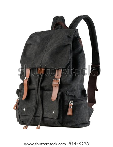 A beautiful black canvas backpack for loading stuffs - stock photo