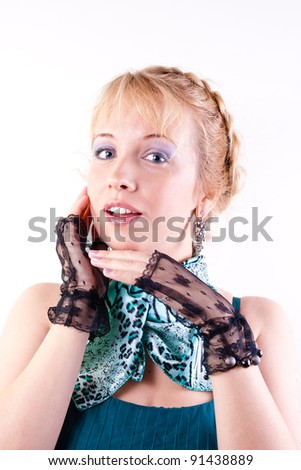 a beautiful blonde is in a green neckerchief on white background