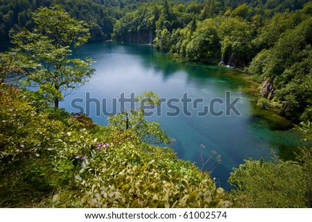 A beautiful blue lake in Plitvice, Croatia - stock photo