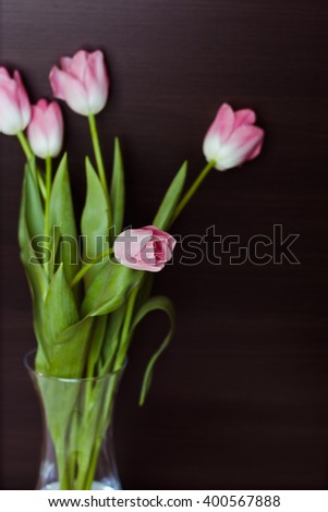 A beautiful bouquet of pink tulips in a vase on black background - stock photo