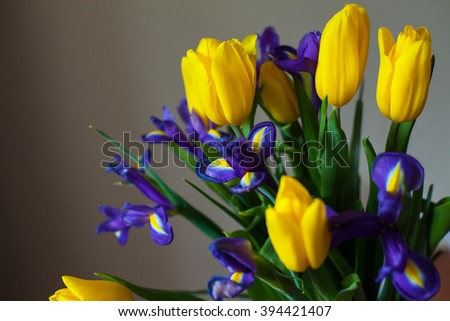 A beautiful bouquet of tulips and 